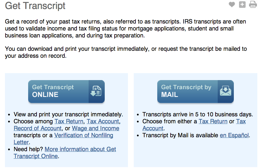 IRS Tax Return Transcript Example