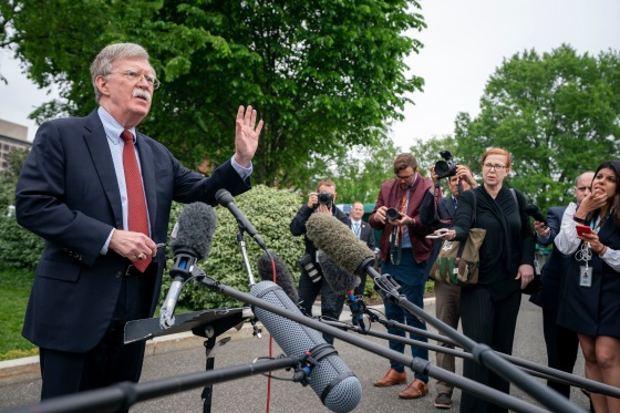 White House National Security Advisor Ambassador John Bolton talks to reporters Wednesday, May 1, 2019, outside the West Wing entrance of the White House. (Official White House Photo by Tia Dufour)